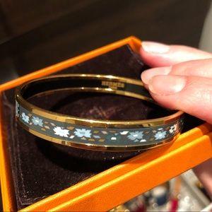 Hermès green enamel bangle bracelet,mineral